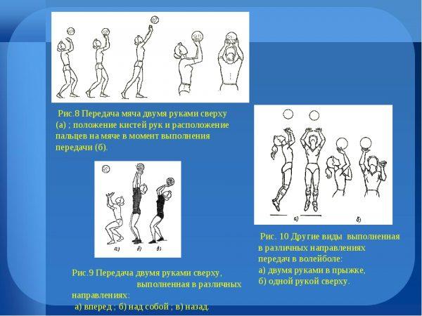 Plakat-dlya-uroka-fizkultury-Volejbol.-Priyom-myacha-peredacha-vpered-peredacha-nazad-