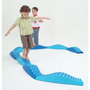 Wavy tactile path with elements of blue
